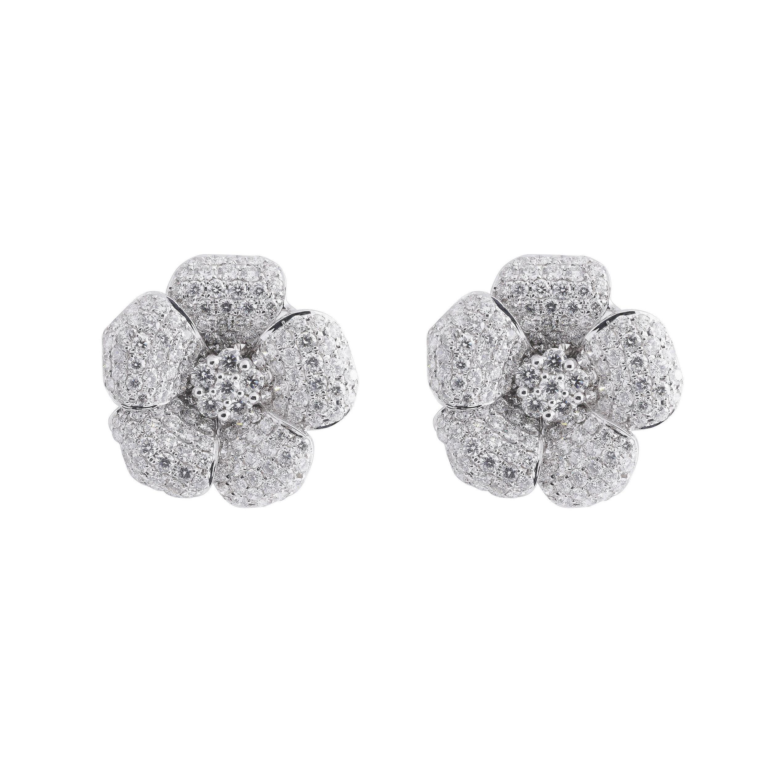 Jewelry By Marsha Large Diamond Flower Earrings