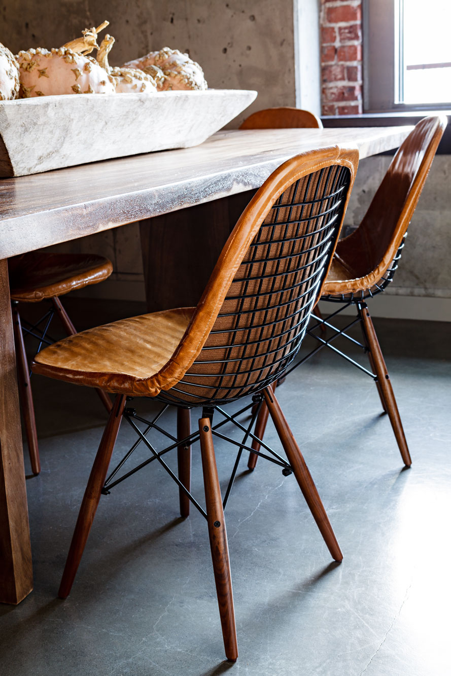 Vintage Eames DKW leather, steel, and wood chairs