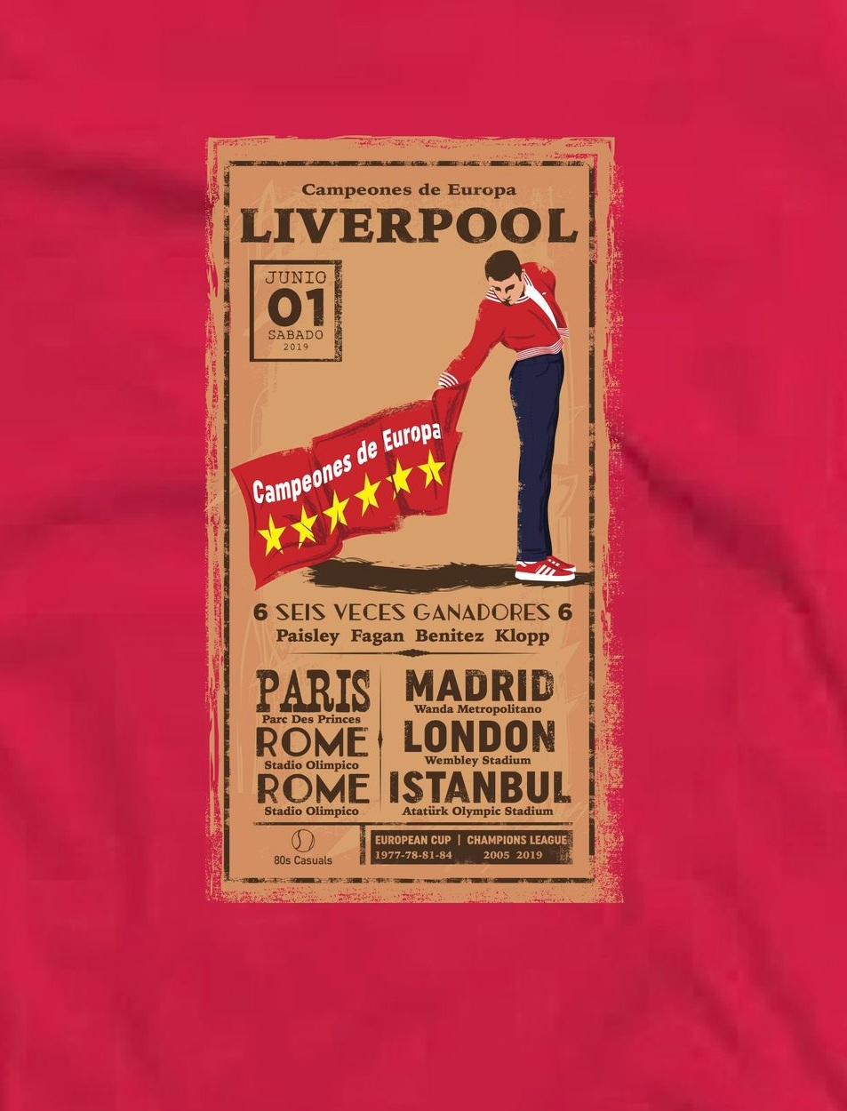 Liverpool Seis Veces 6 Times T Shirt Red 80s Casuals