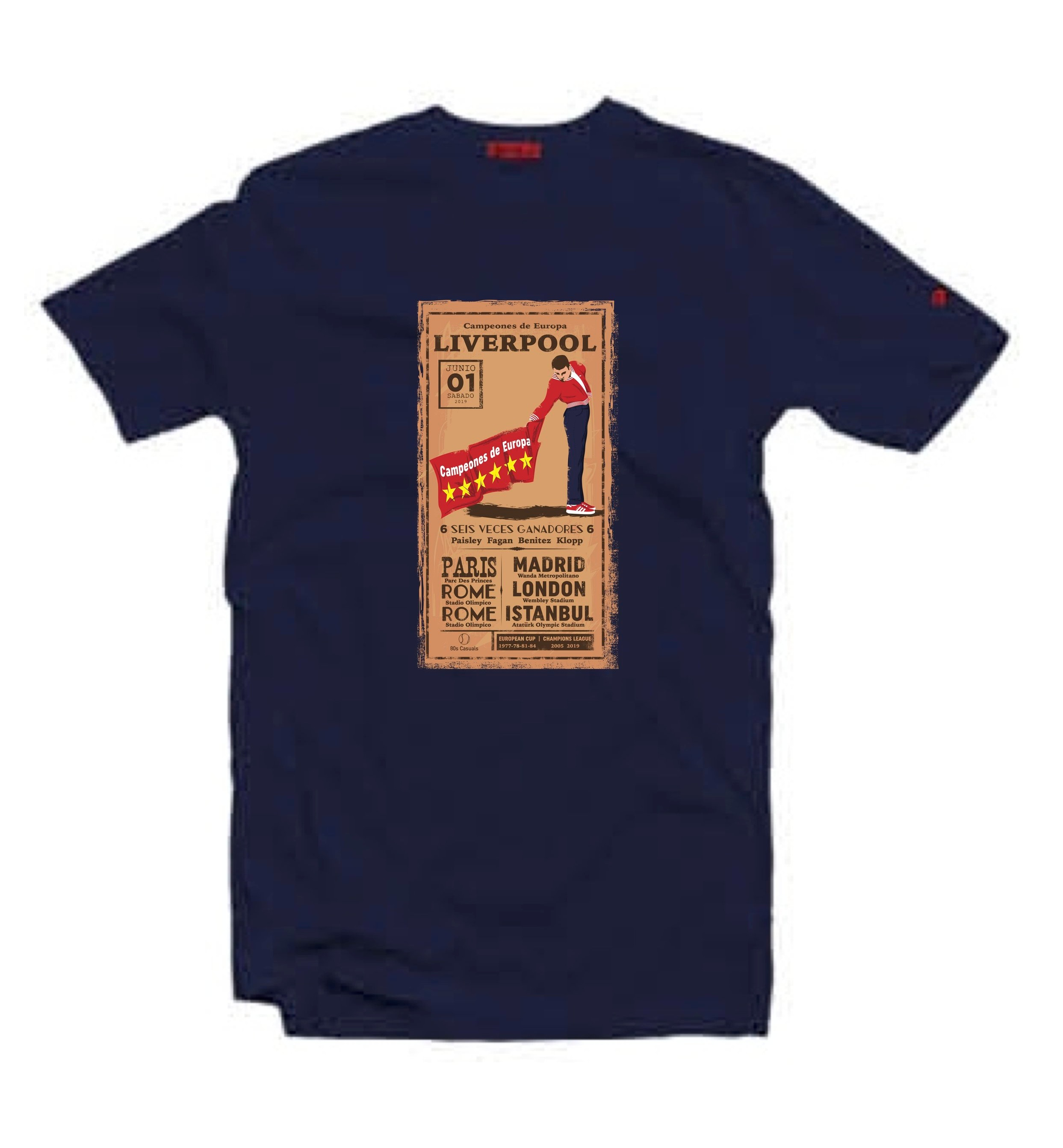 sale retailer 3a5ab 9b654 'Liverpool - Seis Veces/6 Times' T-Shirt / Navy — 80s Casuals