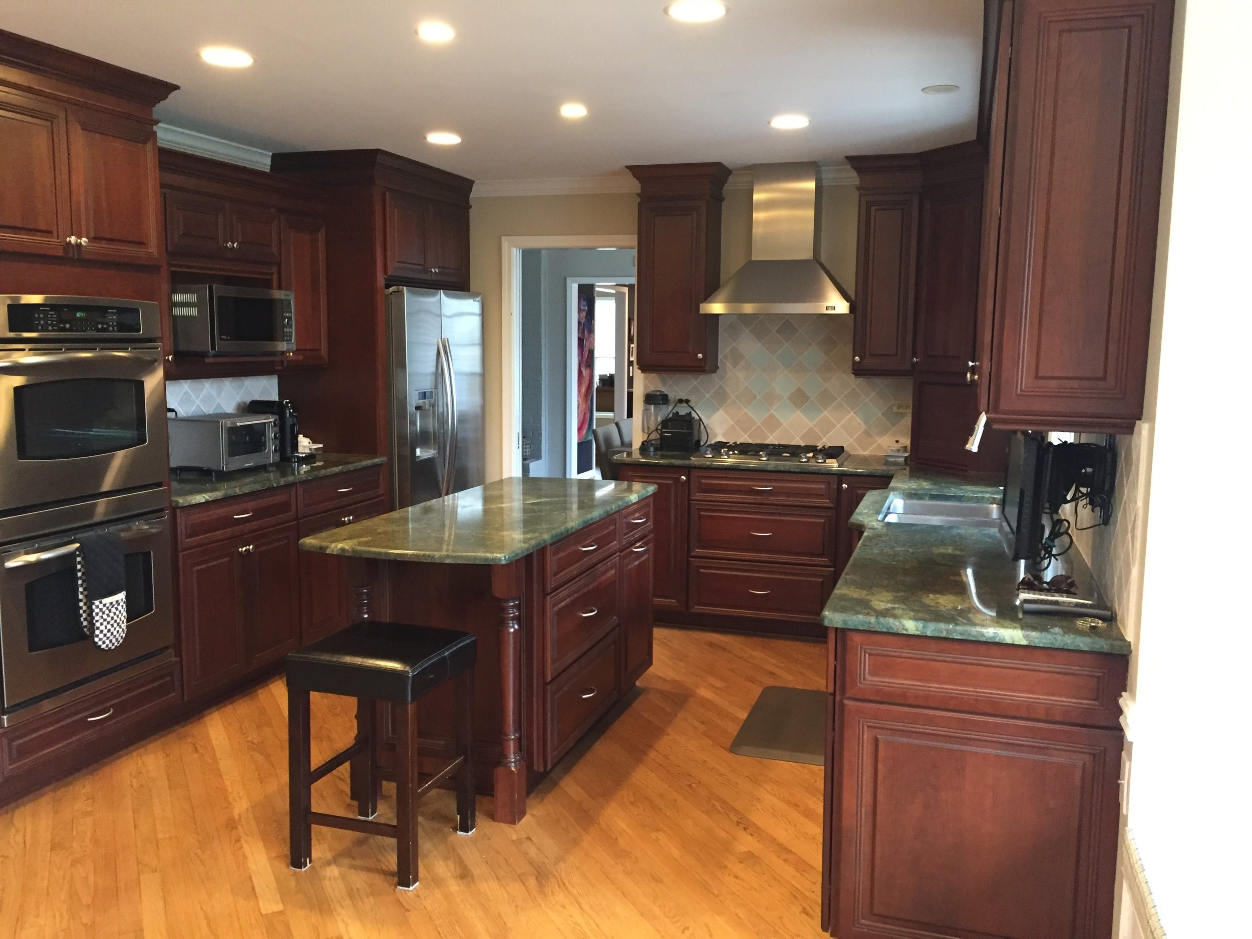 Gorgeous Omega Dark Wood Cherry Complete Kitchen New Stainless Steel  Appliances Dacor Granite — Little Green Kitchens