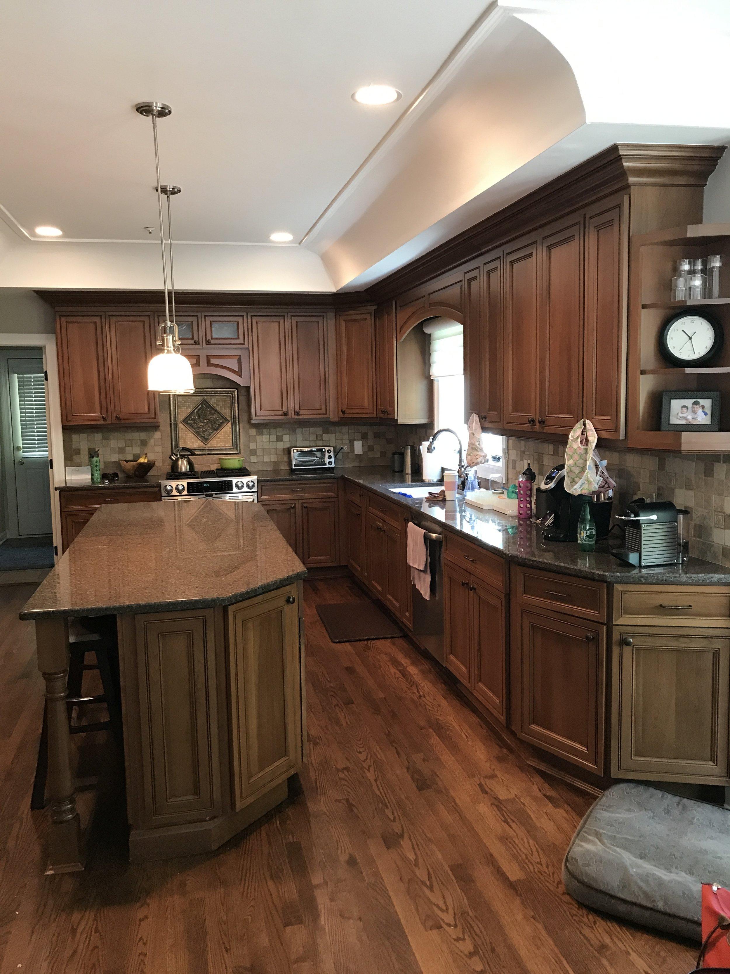 Beautiful Chef\'s Kitchen Medium Brown Glass Cabinets Stainless Steel  Appliances Complete Kitchen — Little Green Kitchens
