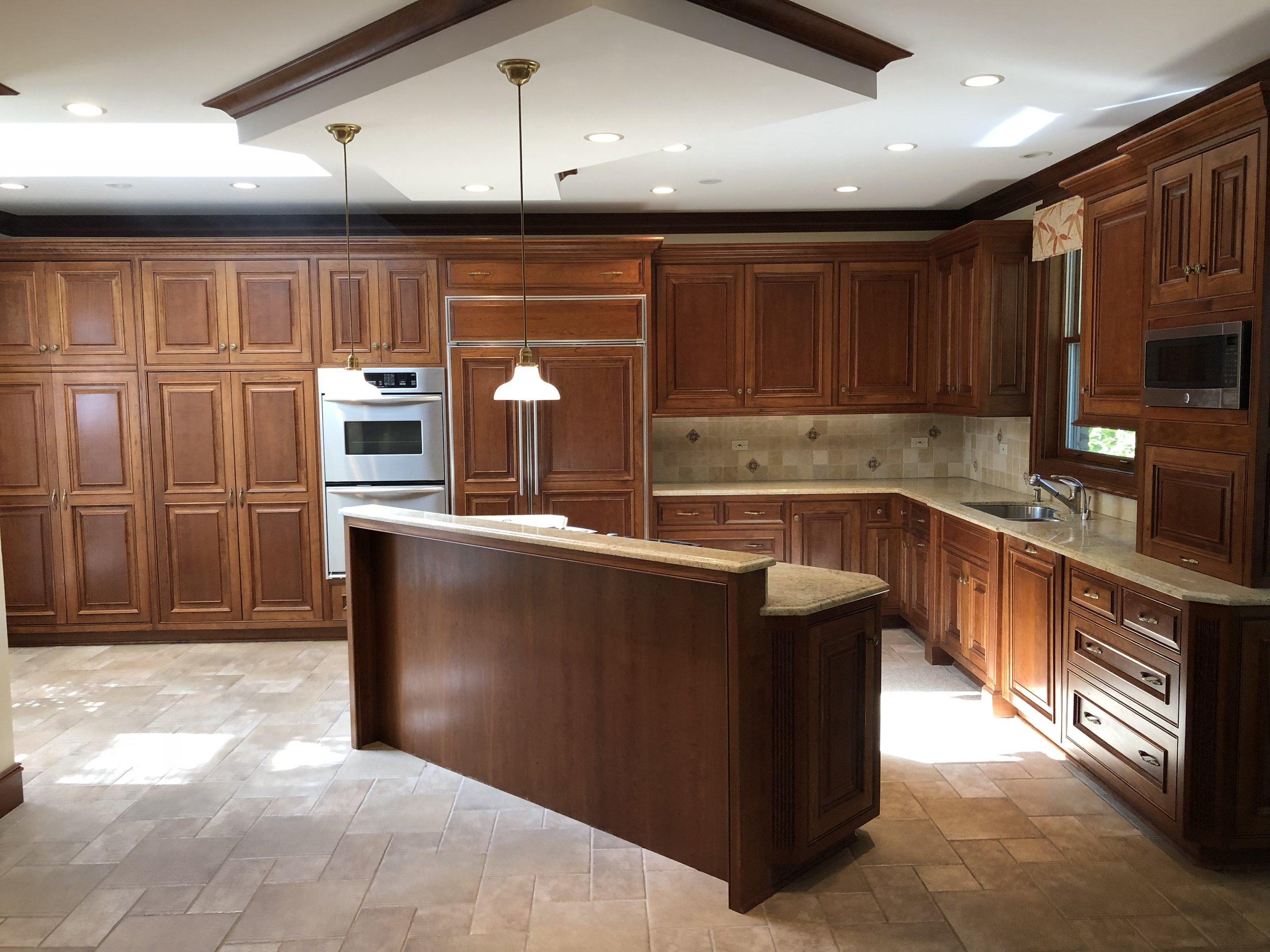 Amazing Custom Wood Complete Kitchen Cabinets Granite Sub Zero Dacor  Appliances Granite Bar Desk — Little Green Kitchens