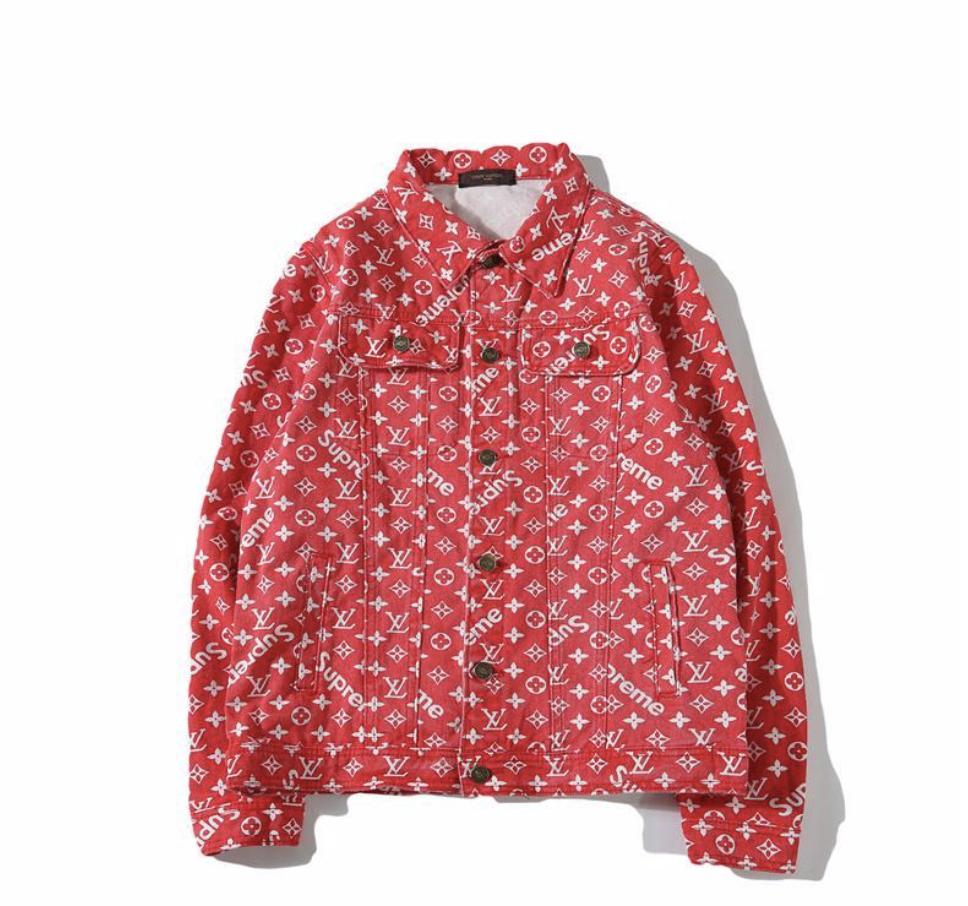 6307cbb31 Bootleg LV Supreme Red Denim Jacket — SHE JUST KNOWS
