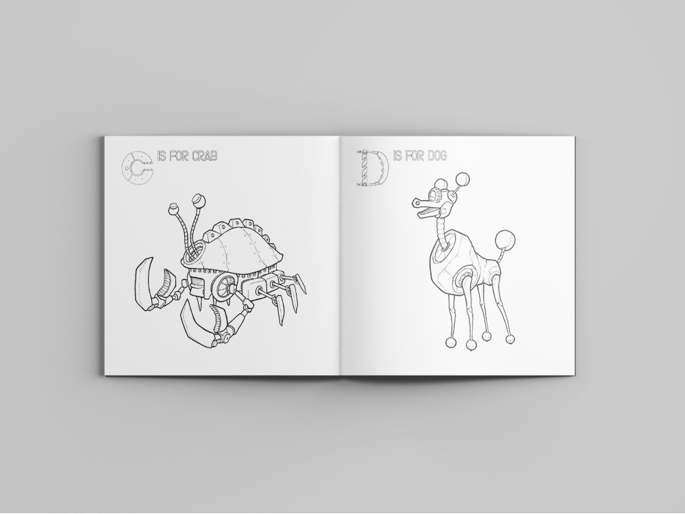 Robot Alphabet Coloring Book — Stephen Brom Illustration
