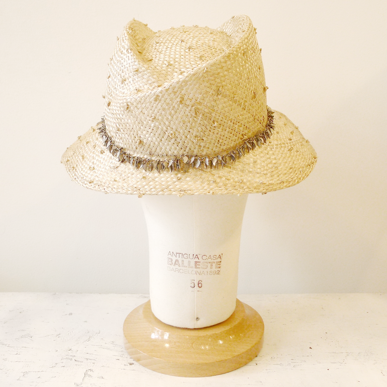 d06c70154 French dot weave straw hat with leaf chain — Lynn Paik