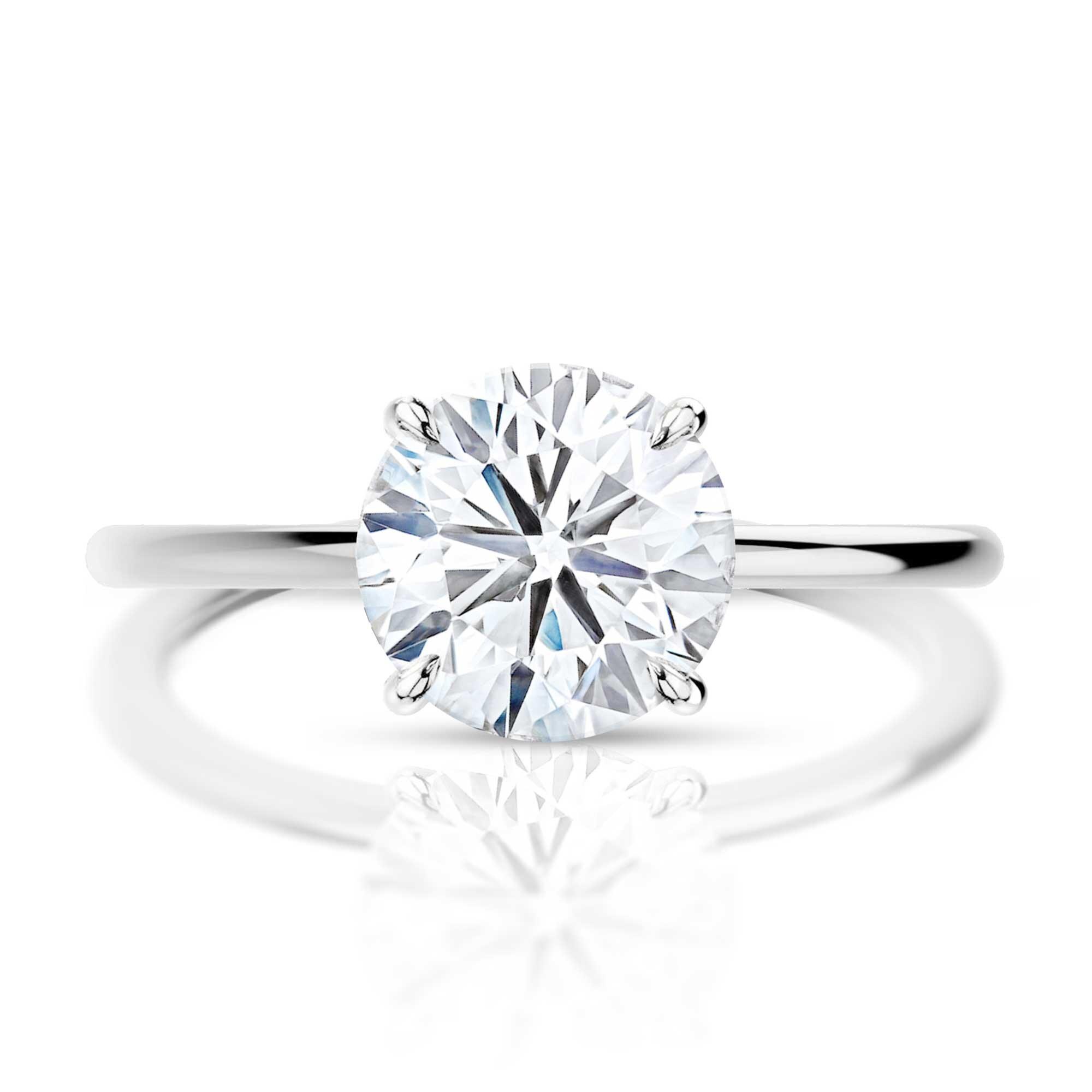 Thin Band Brilliant Cut Engagement Ring Hugo Haan