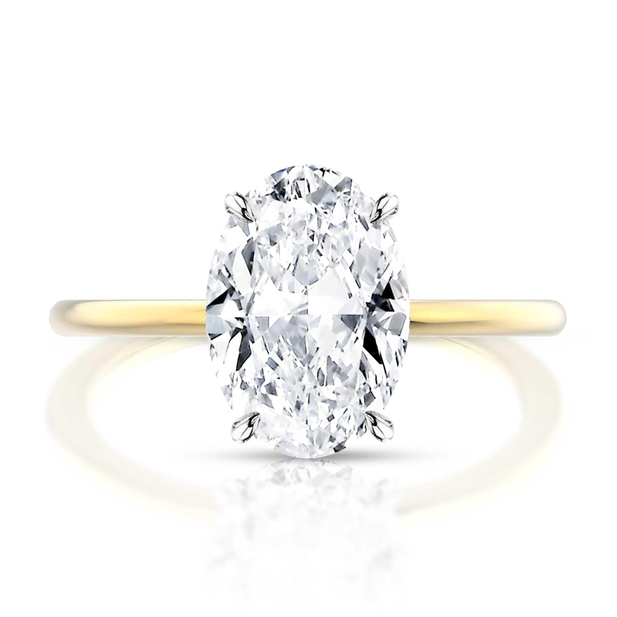 Thin Band Oval Diamond Engagement Ring Hugo Haan