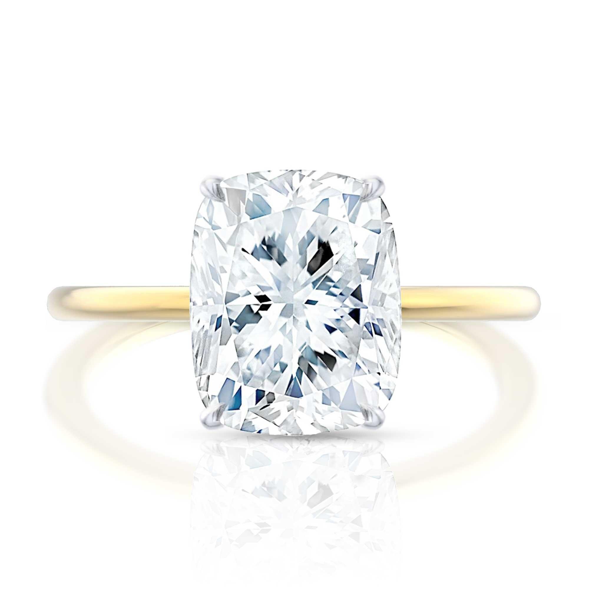 Cushion Diamond Thin Band Engagement Ring Hugo Haan