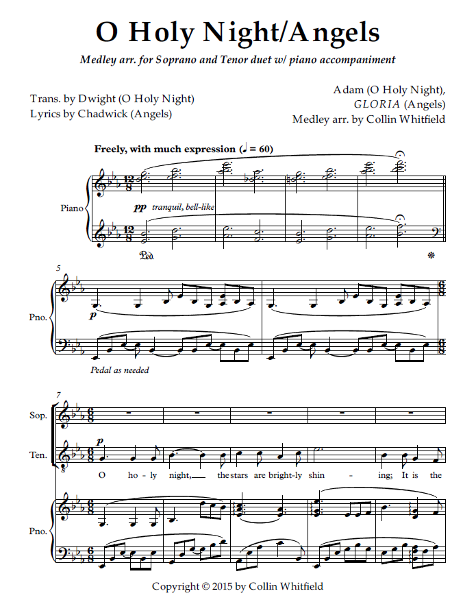 O Holy Night/Angels for soprano and tenor duet w/ piano accompaniment (Eb  Major - original key) — Collin Whitfield