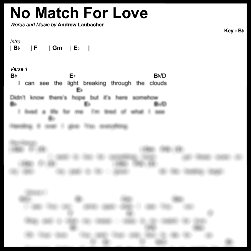No Match For Love - Music Package — Mercy Crew Publishing