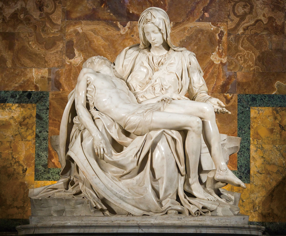 Pieta    (1498-99), Michelangelo    Pieta , a widely revered work, is a main attraction at St Peter's Basilica in the Vatican City. Crazed geologist Laszlo Toth, claiming to be Christ, struck the sculpture 12 times with a hammer in 1972, severely damaging the nose, left arm and hand. Since its restoration the work has been protected by bulletproof glass.
