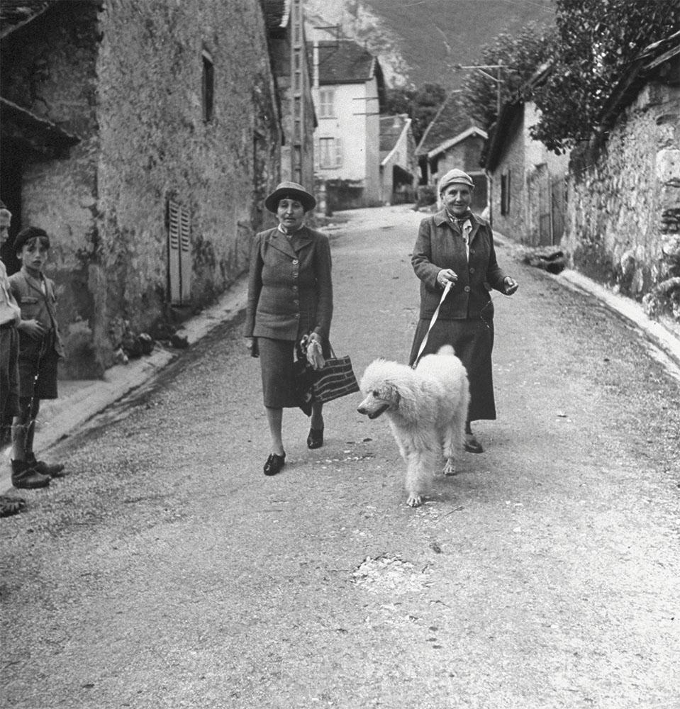 Gertrude Stein and her life partner, Alice B Toklas, walking their dog