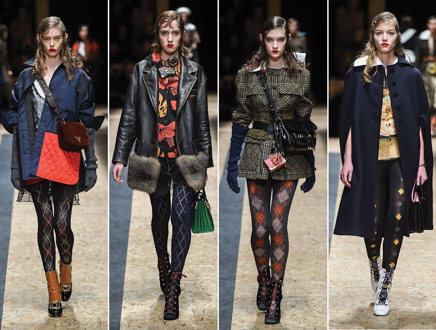 Prada collection with patterned tights, AW/16