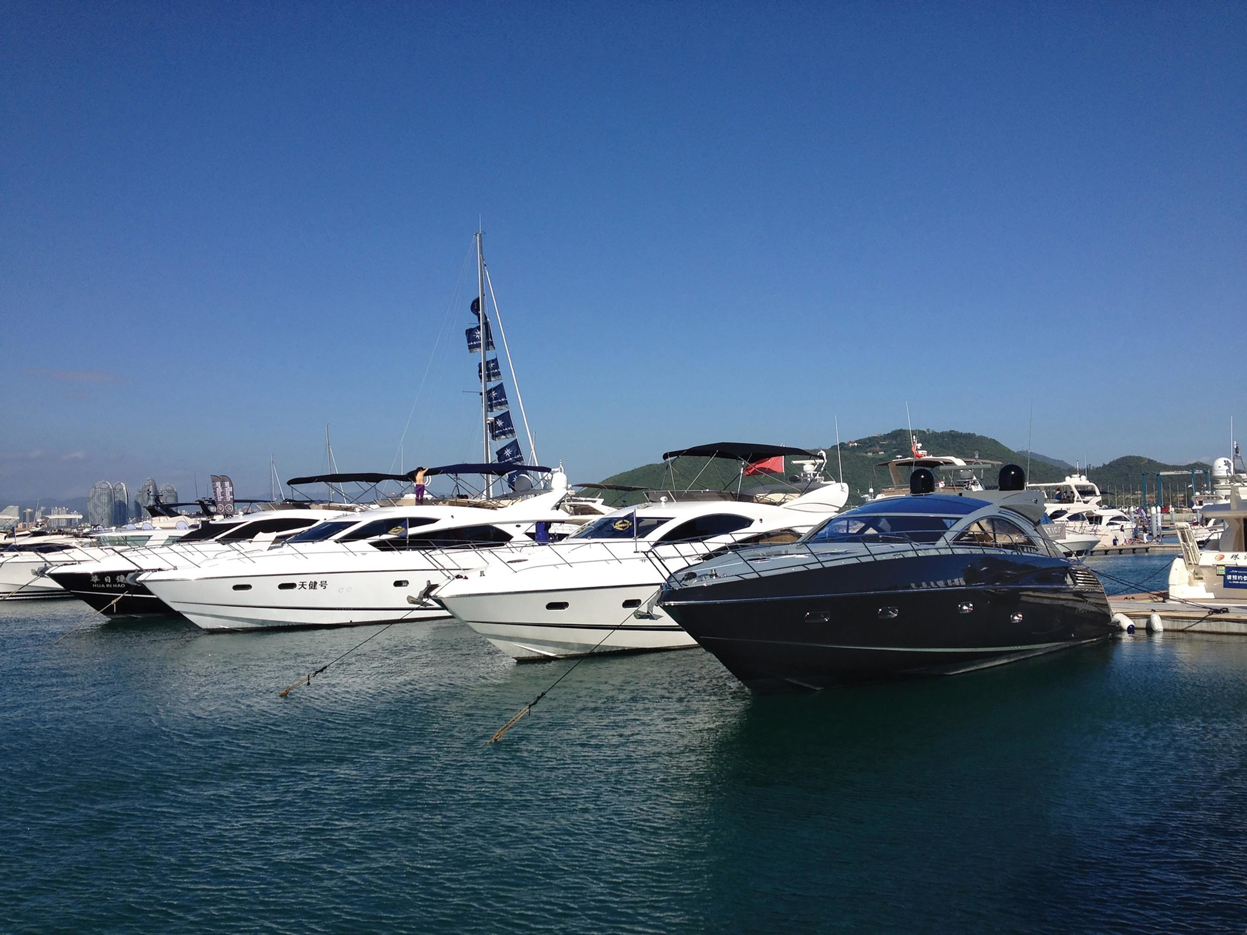 A variety of Sunseekers at the 2012 Hainan Boat Show in Sanya