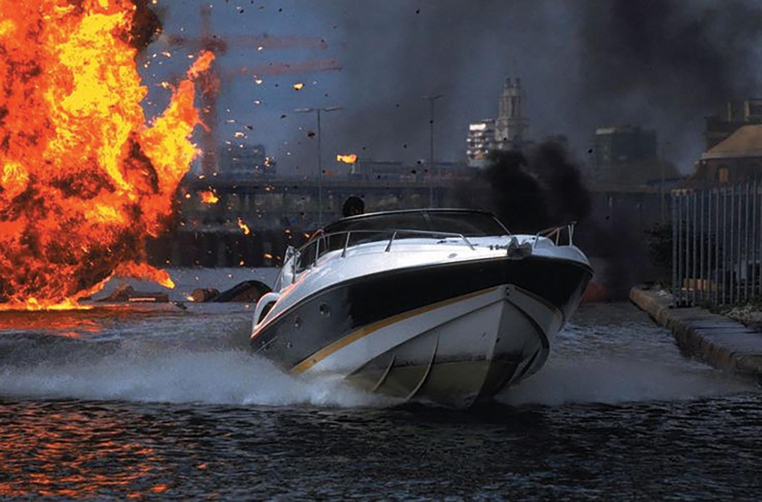 Shaken Not Stirred, the Sunseeker Superhawk 34, featured in the opening sequence of  The World is Not Enough