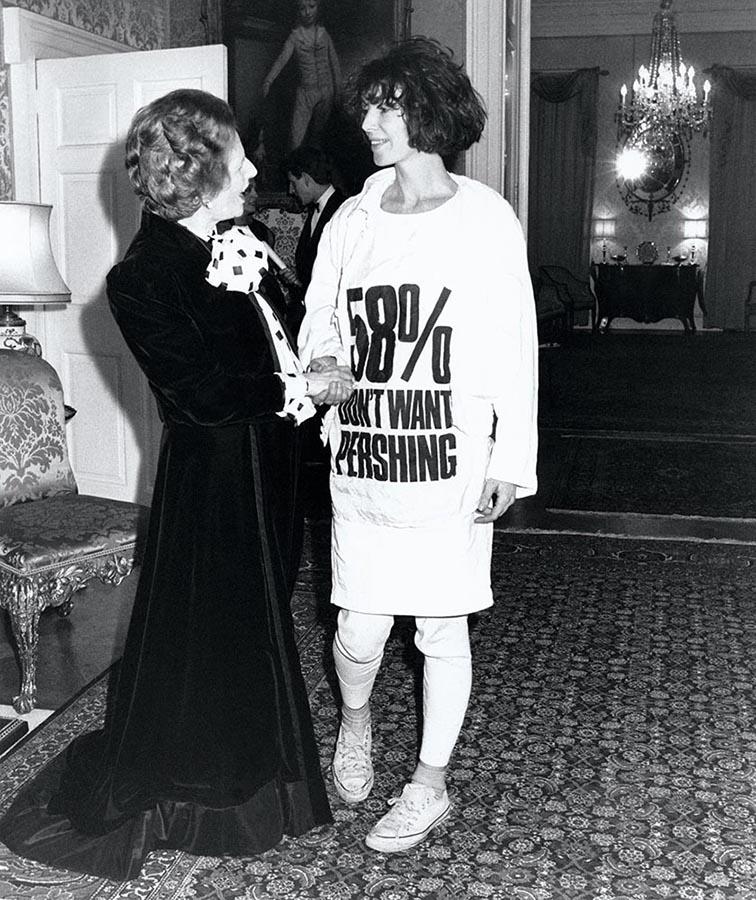 Katharine Hamnett meets Margaret Thatcher, 1983