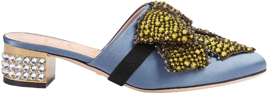 Satin slippers with removable crystal bow, Gucci