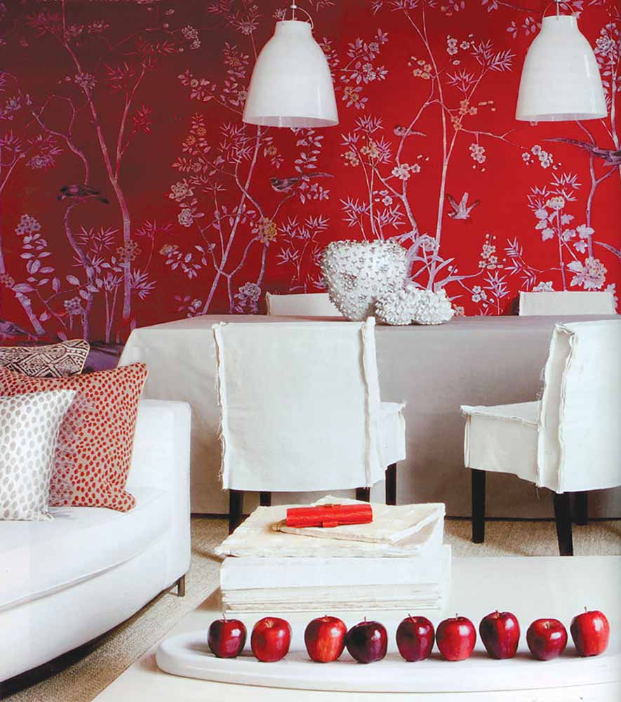 Portobello (custom monochromatic design colours on Scarlet Lady dyed silk) from the Chinoiserie collection, De Gournay