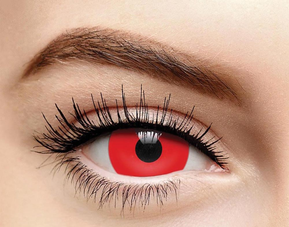 Red mini-sclera Halloween<br> coloured contact lenses,<br> Coloured Contacts