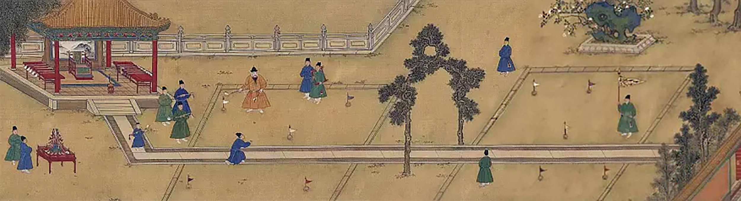 Emperor Xuanzong of the Ming Dynasty at Leisure , collected by The Palace Museum, portrays the emperor playing chuiwan