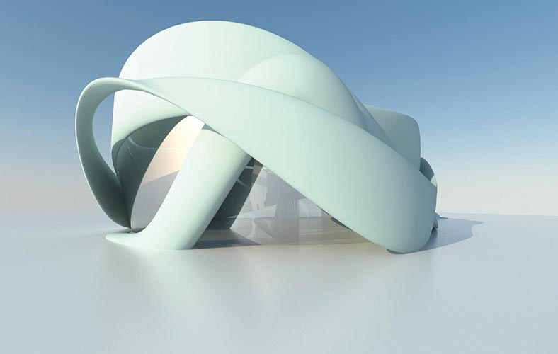 De Slaapfabriek Conference Room   in Teuge, Netherlands, 970 square feet, began construction in December 2017, by De Slaapfabriek Hotel and CyBe Construction; this conceptual conference centre is a fully sustainable 3D-printed one-room building in the shape of a vortex.