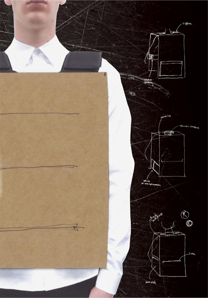 The reinterpreted frontal backpack by Rem Koolhaas for Prada Invites