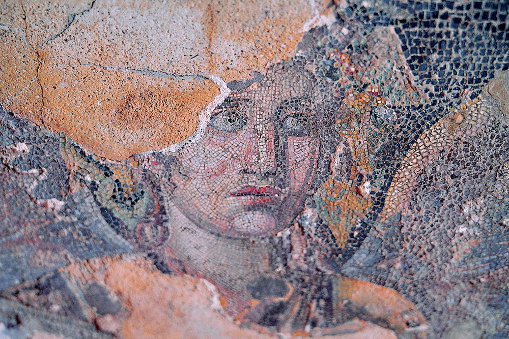 The detail of a mosaic from the second century BCE at the House of Dionysus on Delos