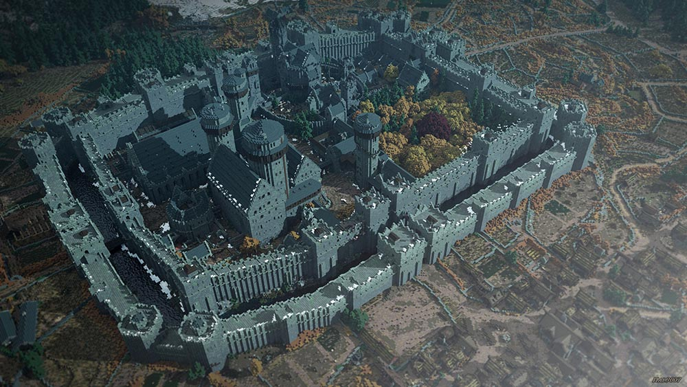 Winterfell, recreated in <br>Minecraft by WesterosCraft