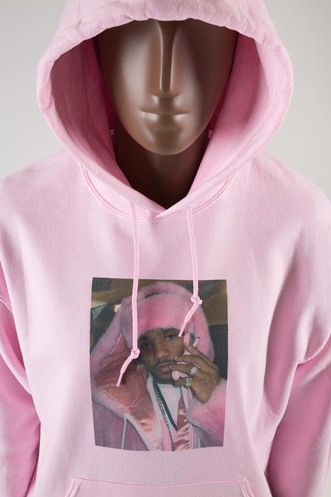 Sweatshirt, featuring a photo of rapper Cam'ron wearing pink fur, circa 2003, anonymous donor