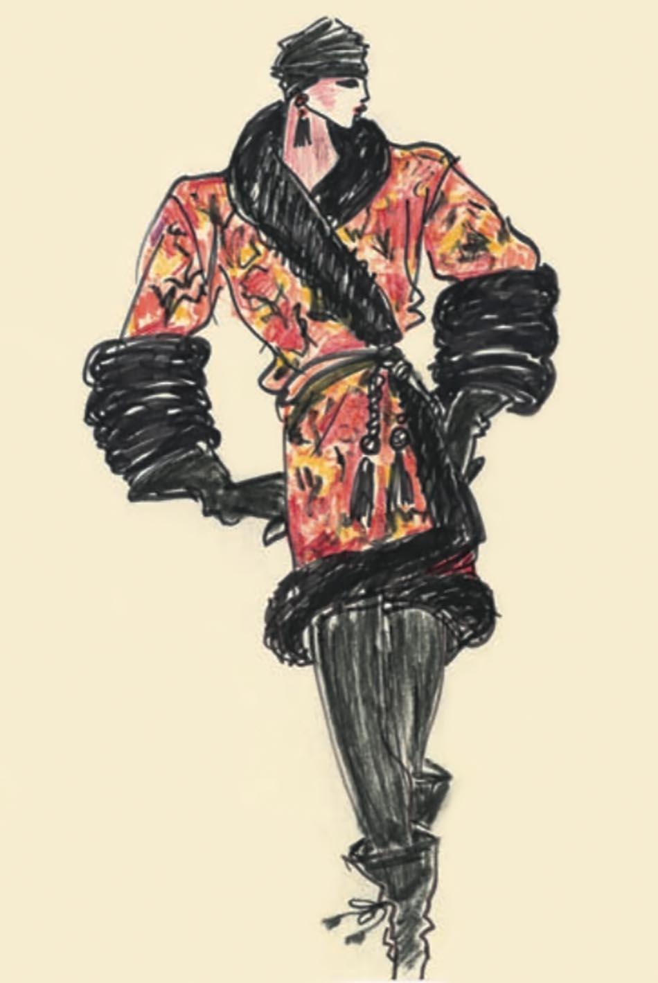 Illustration sketch of an evening ensemble, Autumn-Winter 1977 Haute Couture collection, Musée Yves Saint Laurent Paris