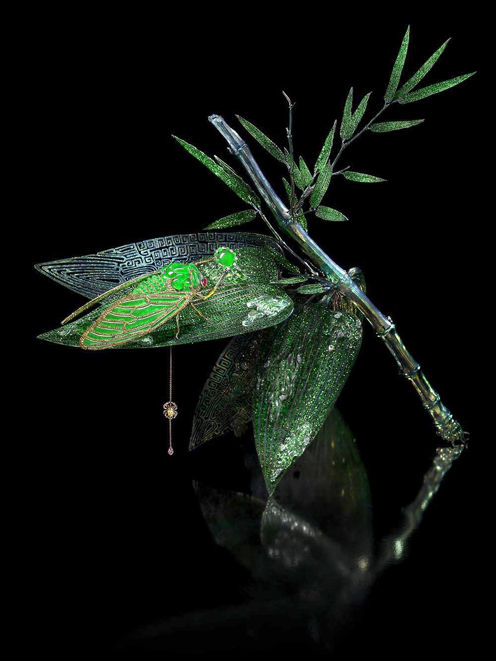 Brooch and Sculpture: Stilled Life  Brooch: Imperial Jadeite, Lavender Jade, Ruby, Fancy Colored Diamond, Titanium Bamboo Sculpture: Crystal, Yellow Diamond, Pink Sapphire Diamond, Tsavorite Garnet, Titanium