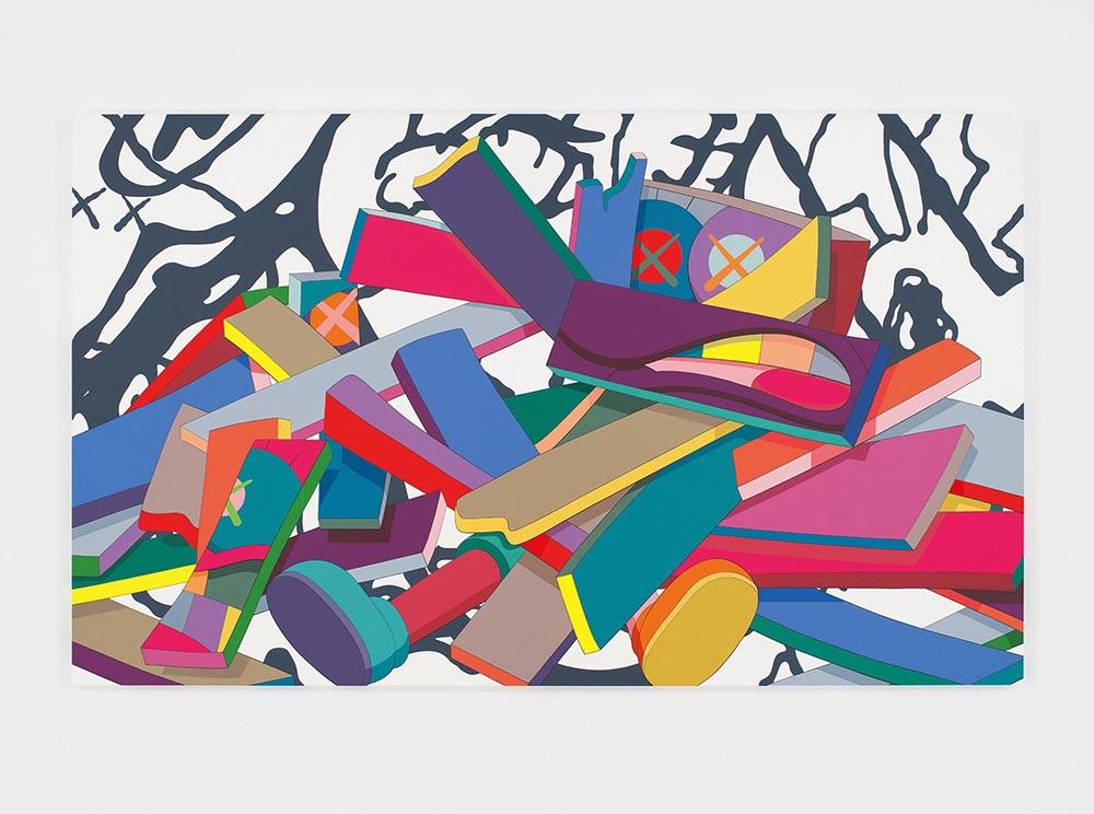Kaws,  The Fall , 2016, acrylic on canvas