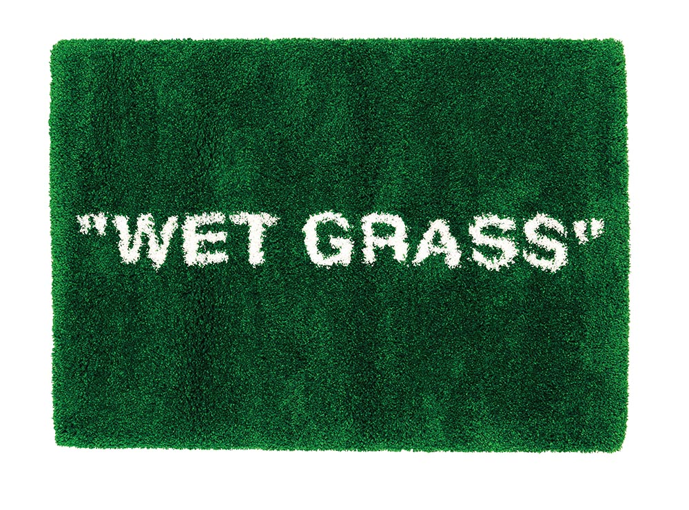 """Wet Grass"" woven rug prototype by Abloh for IKEA, 2018"