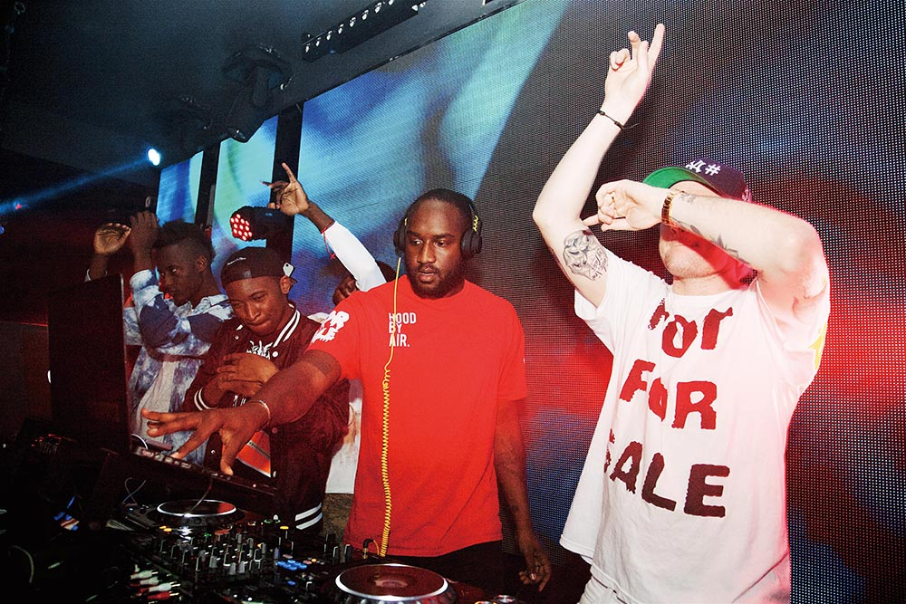The Been Trill crew – including Abloh, Matthew Williams, Florencia Galarza, Heron Preston and Justin Saunders – behind the DJ decks in 2013