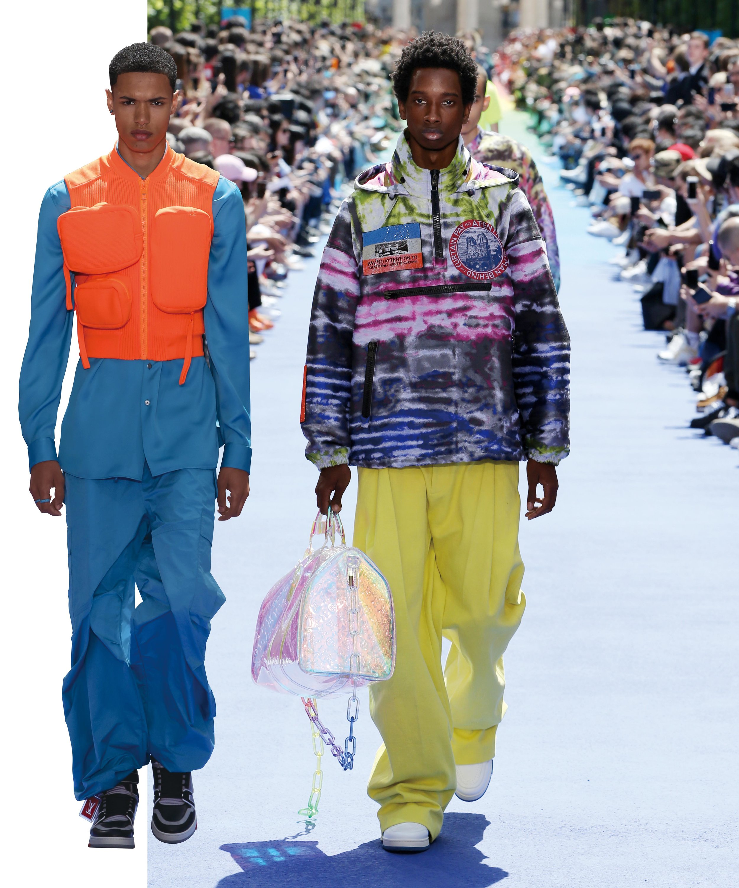 "Looks from Louis Vuitton men's collection (""Dark Side of the Rainbow"") for spring/summer 2019"