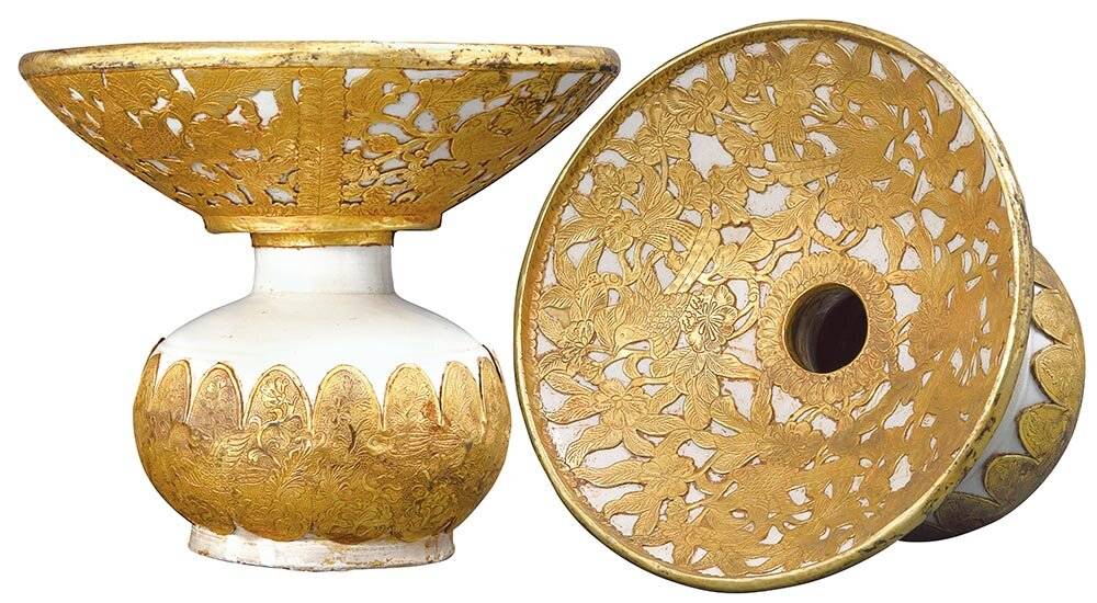 White-glazed stoneware  chadou  decorated with gold, northern China, nomadic Qidan tribe, 10th century AD, diameter: 18.2cm, height: 15.4cm