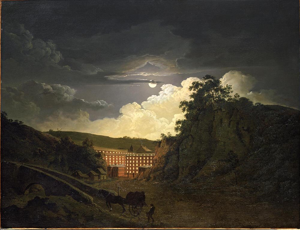 Joseph Wright of Derby,  Arkwright's Cotton Mills by Night  (1782)