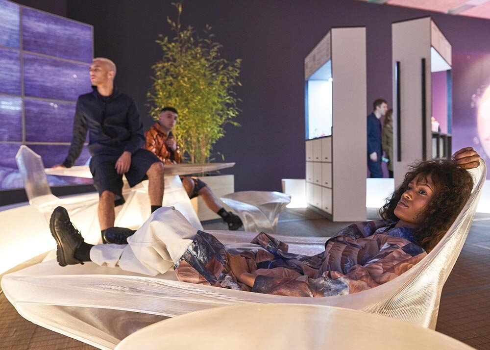 Mars Habitat by Hassell with 3D-printed furniture by Nagami, with thanks to Oxygen Model Management