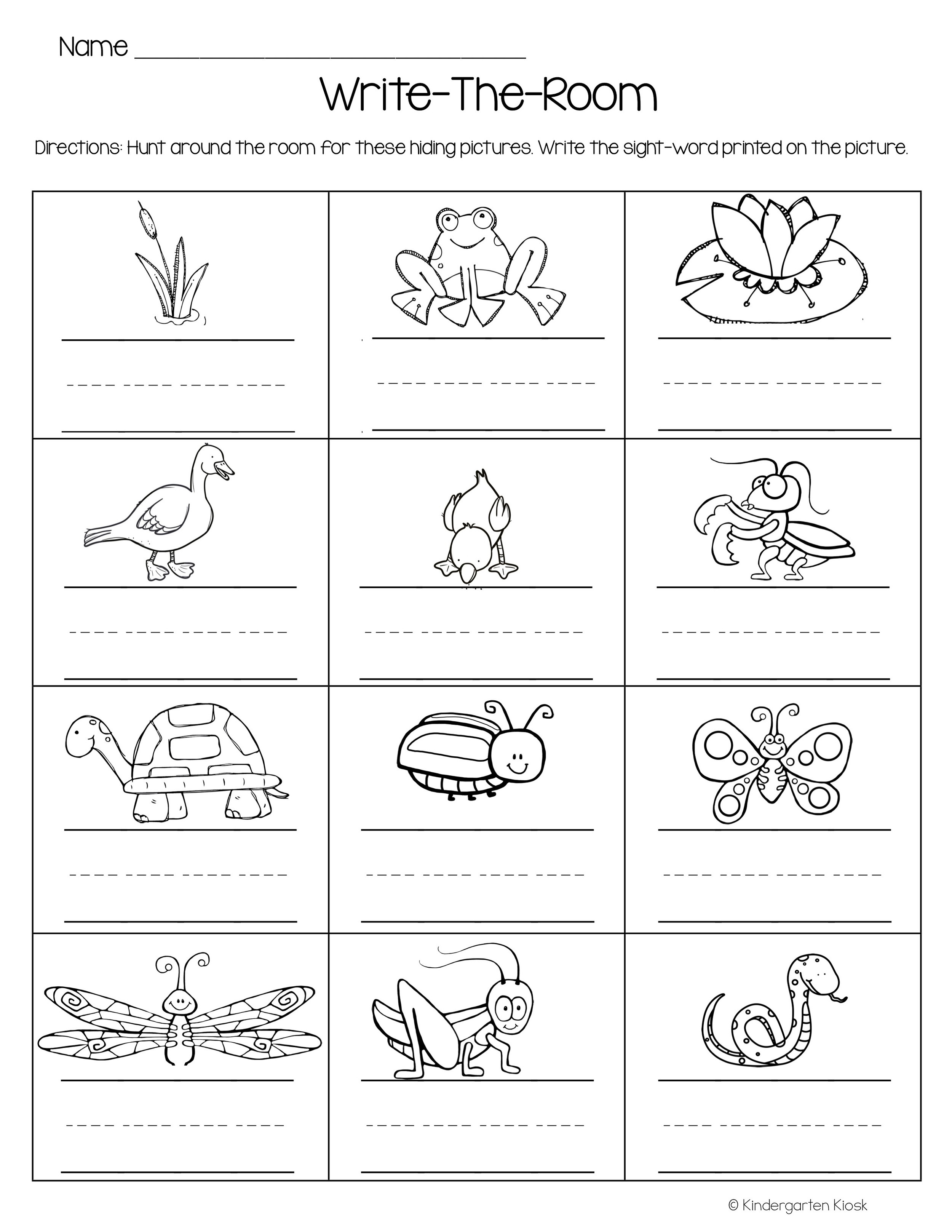 Pond Theme Independent Writing Practice — Kindergarten Kiosk