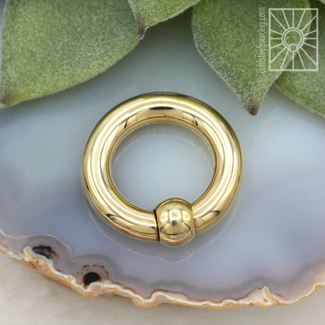 Solid Yellow Gold Captive Bead Ring 4ga Cold Steel America