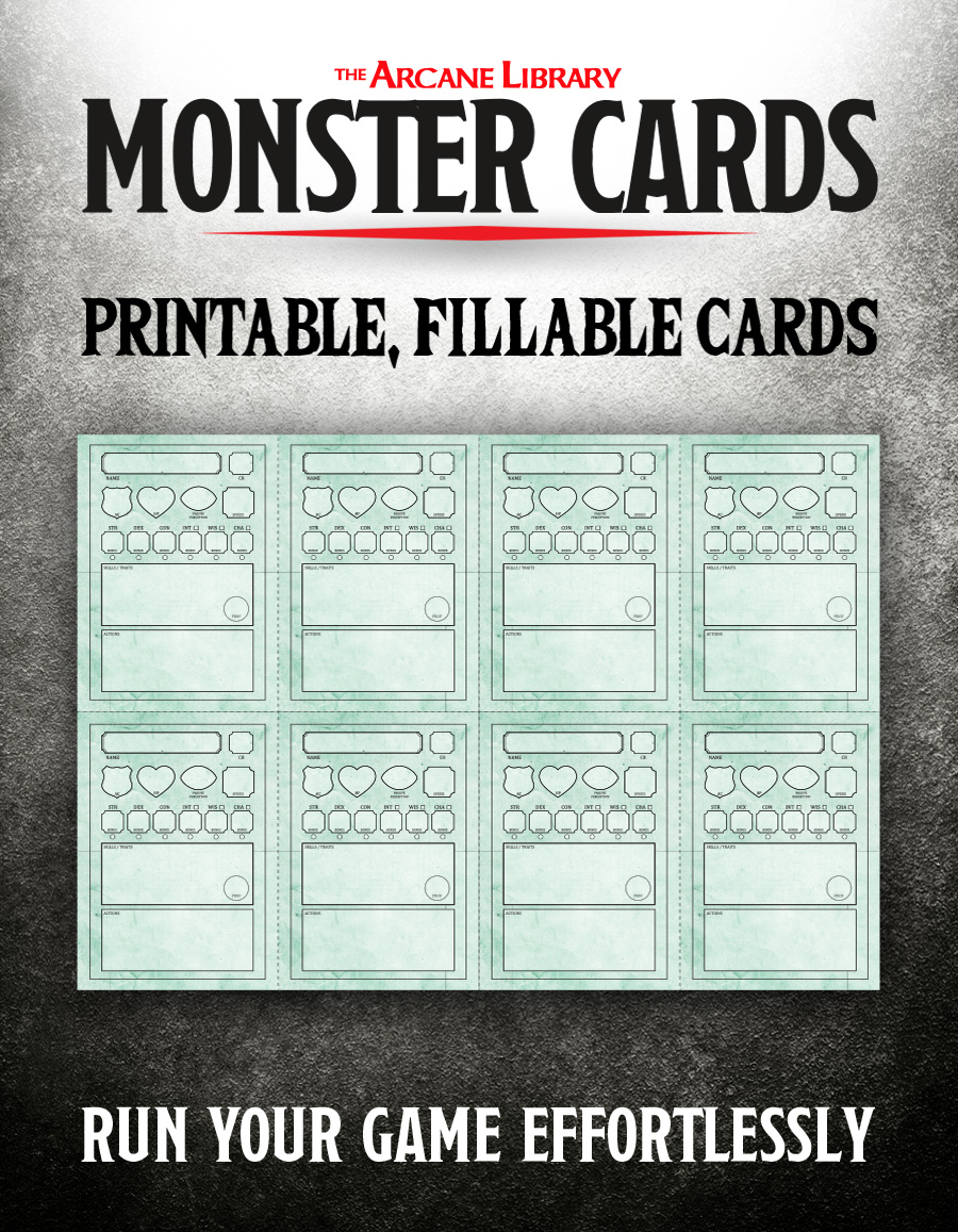 Form-Fillable Monster Cards PDF — The Arcane Library