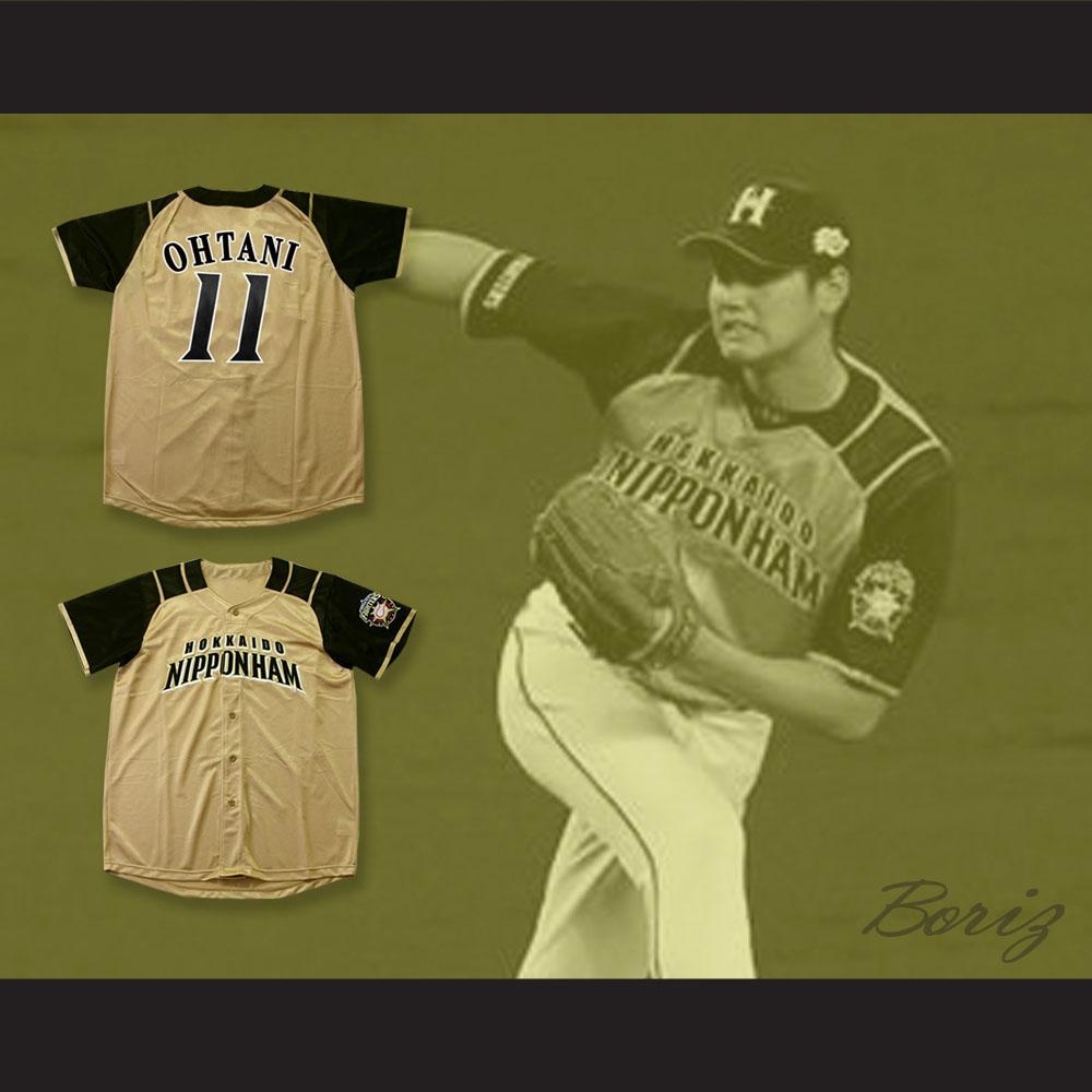 premium selection 44044 2b923 Shohei Otani 11 Hokkaido Nippon-Ham Fighters Button Down Tan Baseball  Jersey with Patch — BORIZ