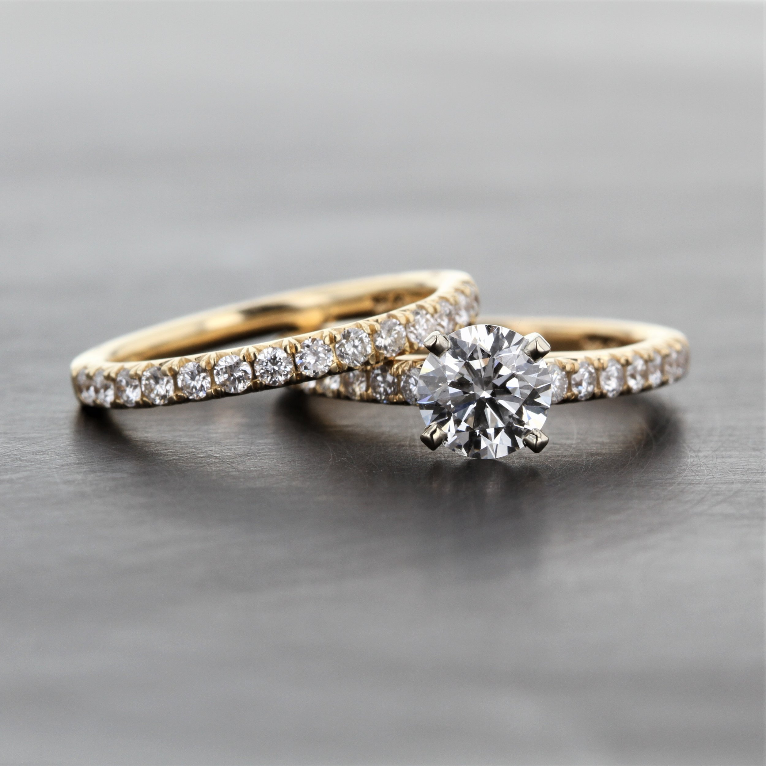 Engagement Ring And Wedding Band.Yellow Gold Diamond Solitaire Engagement Ring Kizer Cummings Jewelers