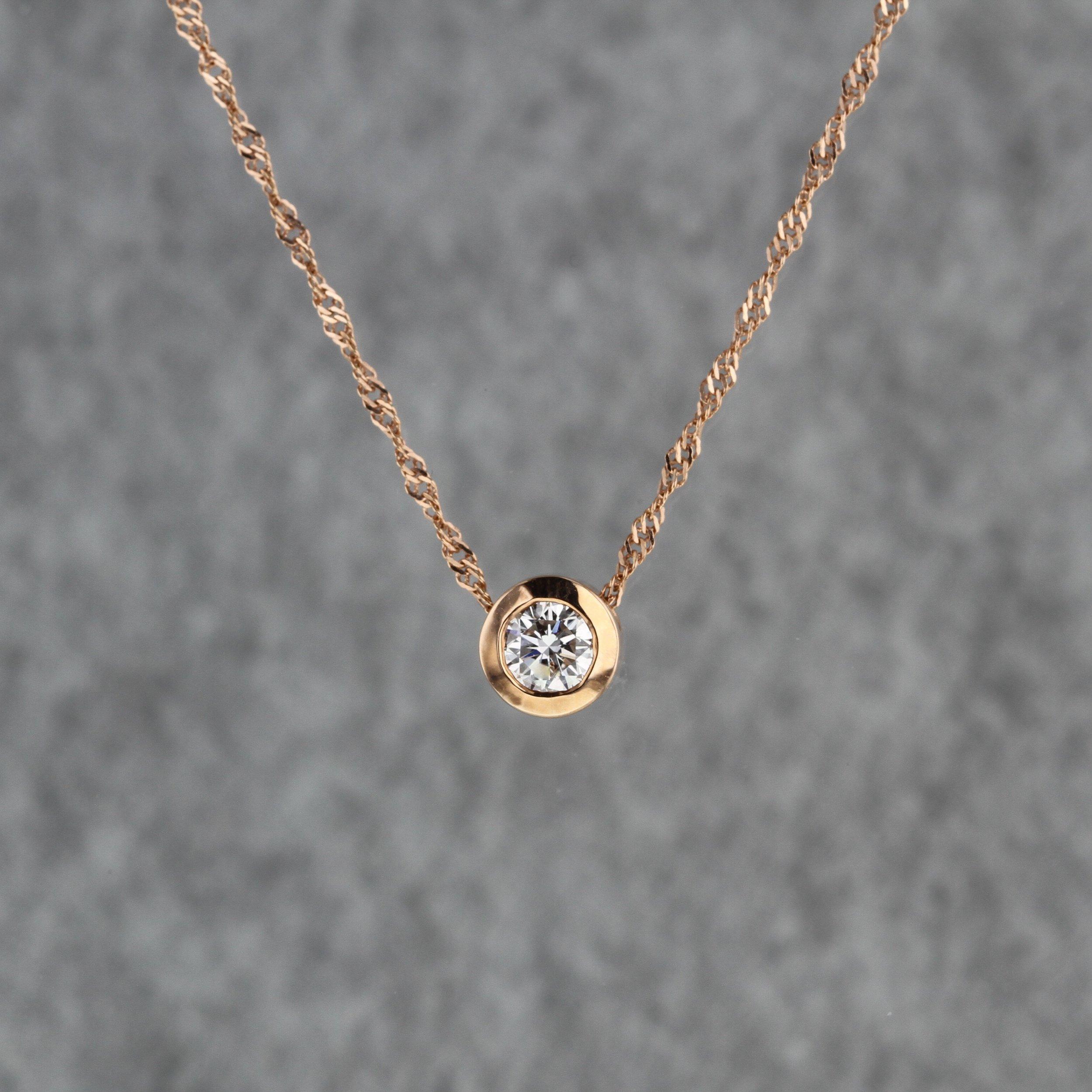 Rose Gold Simple Diamond Slide Pendant Kizer Cummings Jewelers