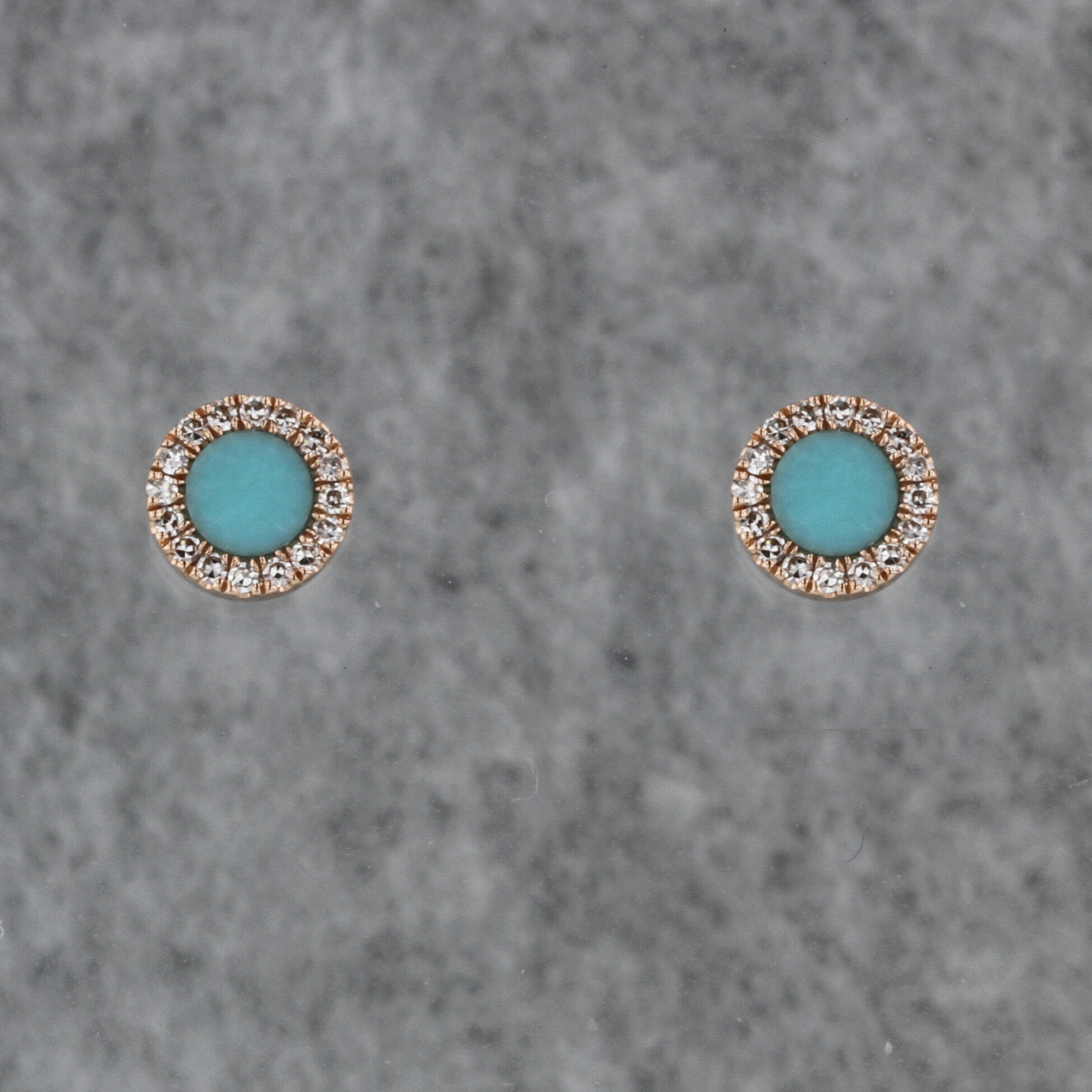 Rose Gold Turquoise And Diamond Stud Earrings Kizer Cummings