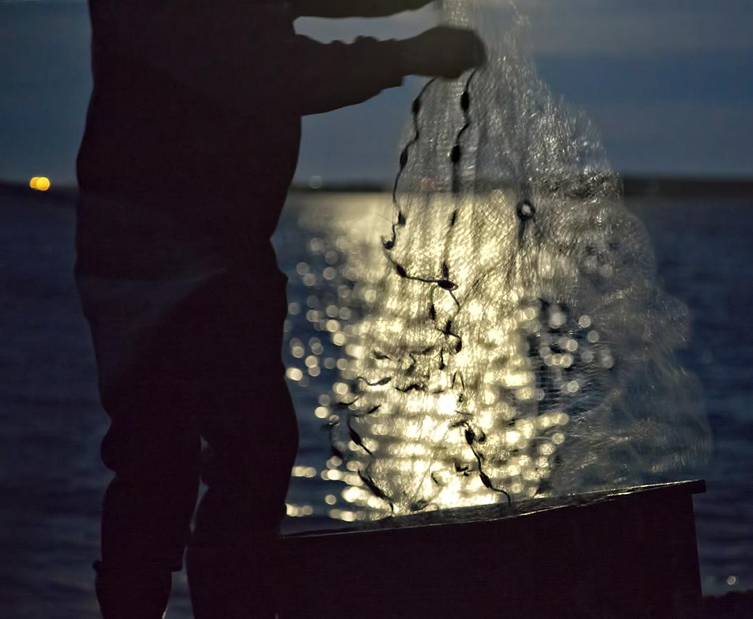 A net glistens in the moonlight in Gabaraus Bay.