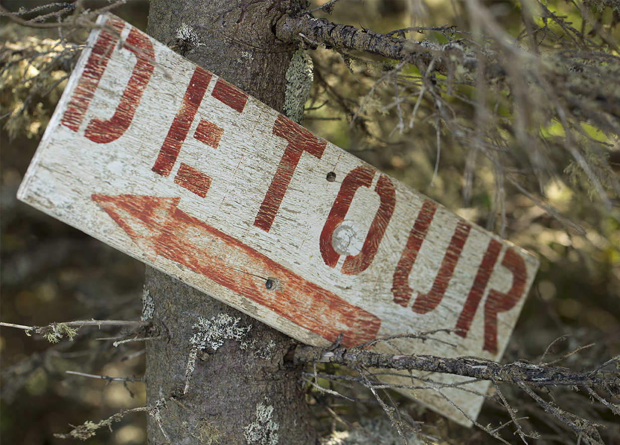 Humor in the Gabarus Wilderness. A Detour sign points toward the sky.