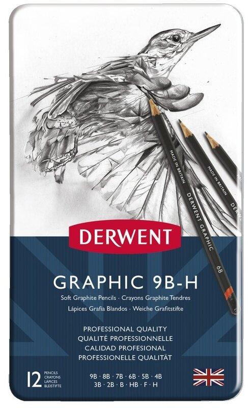 derwent 12 graphite pencil sets in tin case reddi arts