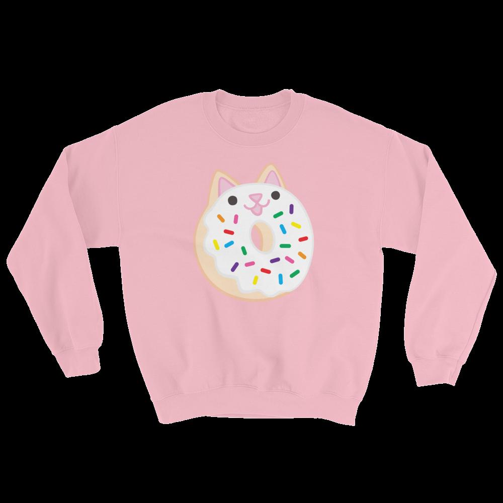 ef8bbcf316043 Adult Pullover Sweatshirt: Rainbow Sprinkle Mini Donut Cat